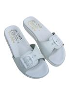 Pantofle Fussbett jednopáskový bílý-hladká stélka 5-20105