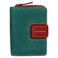 Dámská peněženka LAGEN kožená 3307 zelená/červená GREEN/TOMATO
