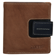 Dámská peněženka LAGEN kožená 3305/18 hnědá/modrá TAUPE/NAVY