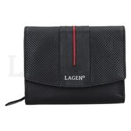 Dámská peněženka LAGEN kožená 5436 černá/červená BLK/RED
