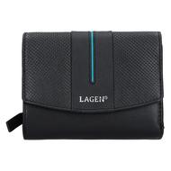 Dámská peněženka LAGEN kožená 5436 černá/modrá BLK/PETROL