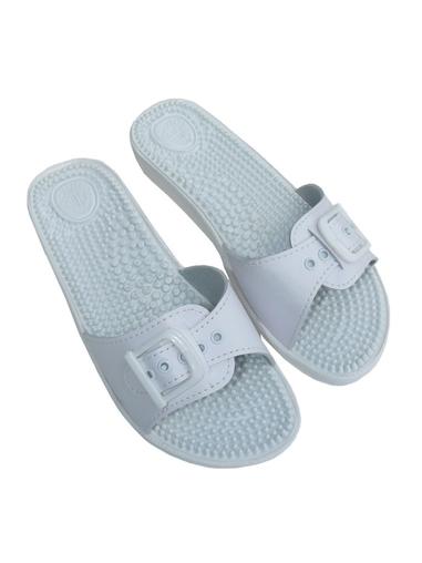 Pantofle Fussbett jednopáskový bílý-masážní stélka 5-20107