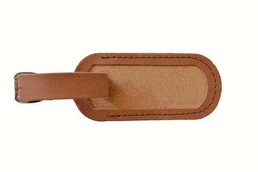 Jmenovka na kufr kožená světle hnědá