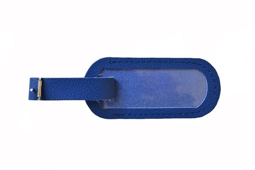 Jmenovka na kufr kožená modrá